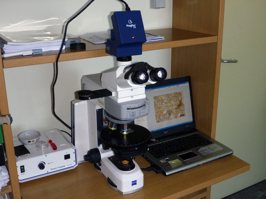 Poralizing microscope (Zeiss AxioScopeA1) and digital camera (Jenoptic ProgRes C3)